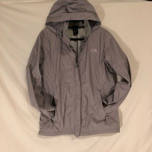 The North Face Zipper Grey Hooded Rain Jacket